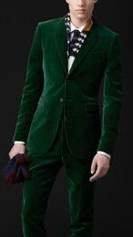 Pajarita de terciopelo verde online-New Latest Design Two Buttons Green Velvet Wedding Groom Tuxedos Notch Lapel Groomsmen Mens Dinner Blazer Suits (Jacket+Pants+Bow Tie) 446