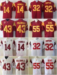 Camisetas de troy polamalu online-USC Trojans 14 Sam Darnold College Camisetas de fútbol 5 Bush 32 O.J Simpson 55 Junior Seau 43 Troy Polamalu Camisetas de fútbol de la Universidad