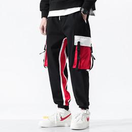 Ruban camo en Ligne-Rubans Taille Élastique Respirant Coton Contrat Couleur Rouge Noir Hommes Casual Harem Jogger Pantalon Pantalon Pour Hommes Hip Pop CAMO