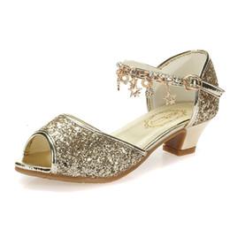 2019 taille 11 sandales dorées Rose Filles Sandales Enfants Strass Chaussures À Talons Hauts De Mode Enfants Chaussures Dorées Pour Les Filles Sandales Taille 28-37