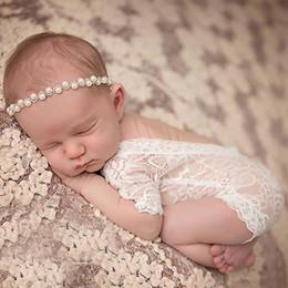 fotos abiertas chicas Rebajas KLV Fotografía Atrezzo recién nacido del bebé del cordón del mameluco infantil de la sesión fotográfica ropa blanca Negro V Cut espalda abierta Romper