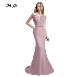 WeiYin Vestido De Festa Rosa Mermaid Lace Top Mieder Slim Line Lange Brautjungfernkleider Schneller Versand Charming Hochzeit von Fabrikanten