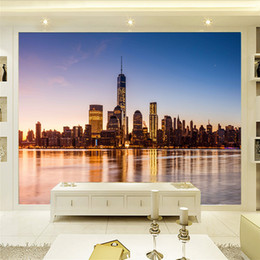 city bedroom wallpaper Coupons - Modern 3D stereo city night landscape theme night scene large mural wallpaper bedroom Bar box background wallpaper