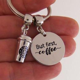 Großhandels10pcs / lot aber erster Kaffee keychain Kaffeetasse Charme hängender Schlüsselring, Kaffeetrinkerschmucksachekaffeeliebhabergeschenk von Fabrikanten