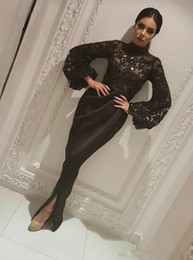 robe long muslim Coupons - Elegant Dubai Saudi Arabic Long Sleeve Mermaid Evening Dresses Sheer Sequins Black Muslim Split Long Prom Pageant robe de mariée Party Gowns
