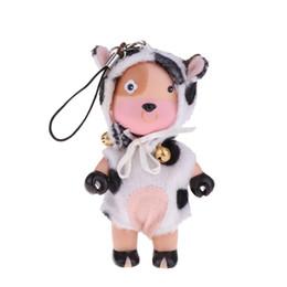 2019 bambini in plastica miniatura 4 pollici Dollhouse Miniature Dolls Figure in plastica morbida Mini Cartoon Cow Baby Doll Carino portachiavi ciondolo Ciondolo Baby Doll giocattoli sconti bambini in plastica miniatura