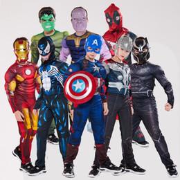 Panther kleidung online-Halloween-Kostüme Kinder 20 Arten Marvel Avengers Superhelden Spiderman schwarzen Panther Iron Man Kostüm für Kinder Halloween-Kleidung ZSS224