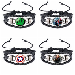 Braccialetto dei nuovi ragazzi online-Il braccialetto Avengers Capitan America spider-man iron-man super eroe moda braccialetti 8 nuovi disegni ragazzi gioielli di moda