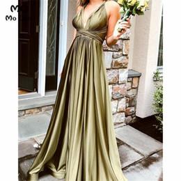 Baile elegante vestidos correias fendas on-line-Elegante Prom Pageant Vestido com Bolsos Cintas de Espaguete Frente Fenda Vestidos de Noite vestido de Festa de Casamento Vestido de Baile para as mulheres