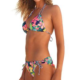 2019 baixo corte empurre para cima sutiã LIVA GIRL sexy mulheres impressão colorida de duas peças swimsuit moda low-cut bikini set push-up sutiã sem encosto cinta swimwear meninas baixo corte empurre para cima sutiã barato