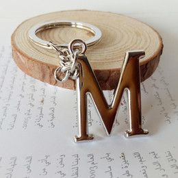 Metal, corrente chave, letras on-line-Metal DIY A-z Letters Keychain Prata Car Key Anel Mulheres Charme presente Letters Chaveiro partido do presente Chaveiro