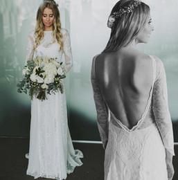 Chiffon francês do laço on-line-Requintado Francês Rendas de Manga Longa Aberta Voltar Boho Praia Vestidos de Noiva Chiffon Rendas Boêmio Vestido De Noiva vestido de noiva