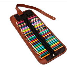 caixa do rolo do lápis da lona Desconto Moda Pintura Lápis Caso Escola Escritório Papelaria Portátil Lona Caneta Roll Up Bag Cortina Lápis Caso