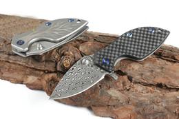 Cuchillo plegable pequeño de la aleta de la hoja VG10 Cuchilla del acero de damasco Cuchillo del titanio del rodamiento de bolitas Cuchillos con la envoltura de cuero desde fabricantes