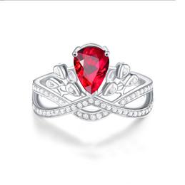 Anelli braccio stili online-Star del cinema Stesso stile Argento 925 Lab-create Ruby Open Ring Cut Prong Impostazione Anelli di nozze con pietre preziose rosse per le donne