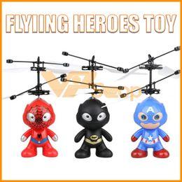heróis voadores Desconto Heróis helicóptero Toy Batman Spiderman Capitão aeronaves voando América Brinquedos infravermelho indução Drone avião de RC para Crianças Crianças