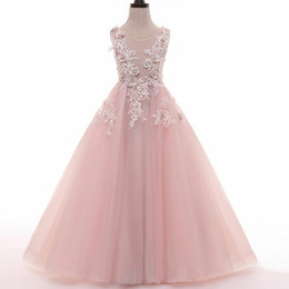 white princess bridesmaid dresses Coupons - Pink Tulle Lace Transparent A Line Fairy Princess Pageant Flower Girl Dress Kids Birthday Beads Wedding Bridesmaid Gown Appliques Backless