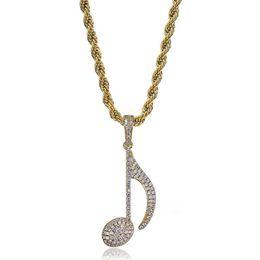 Musiknote vergoldeter halskette online-Mode Musik Symbol Anhänger Halsketten Unisex Luxus 18 Karat Gold Überzogene Ketten Hinweis Charms Halskette Herren Frauen Bling Halsketten
