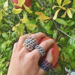 Anello cobalto zirconio cz online-US # 6 7 8 colore oro micro pavè chiaro cubic zirconia cz anello a catena a maglie cubane per donna uomo moda fascino hip hop gioielli da festa