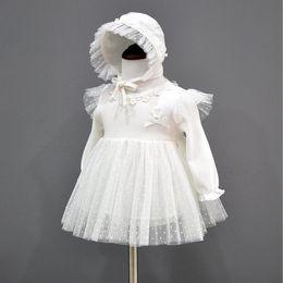 Ropa de vestir para bebé recién nacido Vestidos de princesa Sombrero Infantil Vestidos de bautizo hermosos Vestidos de bautismo para niña otoño desde fabricantes