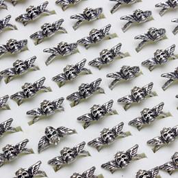 Argentina 20pcs moda para mujer Rhinestone natural del cráneo plateado plata de la boda joyería plateada del anillo del regalo de la joyería al por mayor de los lotes 17-19mm Suministro