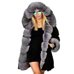 Parkas anoraks online-Womens Hooded Faux Fur Foderato Cappotti caldi Parka Anoraks Outwear Inverno Giacche lunghe Donne Parka Casual Cappotto Cappotto Cappotto con cappuccio