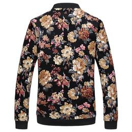 Casacos de impressão floral mens on-line-Jaqueta de flor Homens Moda Casual Mens Designer Jaquetas e Casacos Zíper de Pé Collar Impressão Streewear
