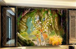 Pittura sfondo scenario online-Wallpaper 3d Scenery Wallpaper Cave Park Green Shade Road 3d Paesaggio Sfondo Muro dipinto Wallpaper HD Digital Print Wall
