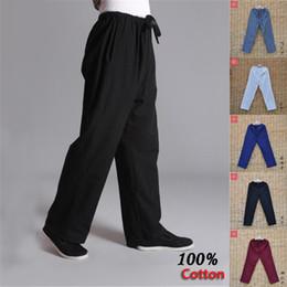 Tuta maschile online-Pure Pantaloni di cotone Sport Practice Vecchio grossolana Maschio Tang-suit traspirante Pantalone cinese Traditiona Tai Chi per il tempo libero pantaloni