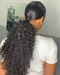 2020 clips africanos gratis Cabello humano Afro Puff Cola de caballo Cordón Afro rizado Extensión de pelo de cola de caballo rizado Afroamericano HairPieces con clips 140 g envío gratis clips africanos gratis baratos