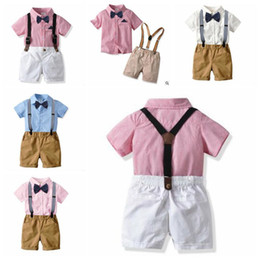 british t shirt brands Coupons - Kids Boys Clothes Gentleman Suits Baby Bowtie Shirts Overalls Pants Child British Clothing Sets Boutique T Shirt Shorts Pants Outfits B5814