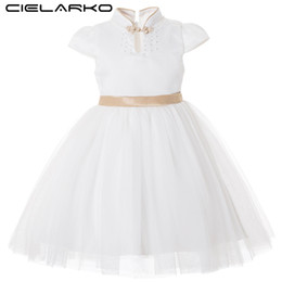 Abiti da sposa principessa oro bianco online-Cielarko Kids Dress For Girl Princess Big Bow Abiti eleganti White Gold Flower Girls Wedding Party Dress Fancy Design collare J190615