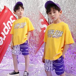 Camiseta amarela meninos on-line-Kids Loose Hip Hop Clothing Outfits Girls Boys Tops Yellow TShirt short Pants Jazz Dance Costume Ballroom Dancing Clothes