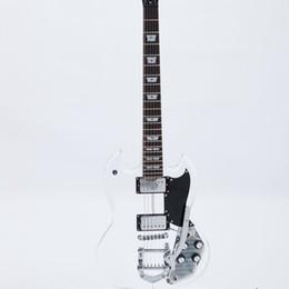 led-beleuchtung e-gitarre Rabatt 6-saitige blaue Led Licht E-Gitarre BB Bridge Solid Body Acryl Korpus Chrom Hardware 22 Bünde Ahorn Griffbrett Ahorn Hals