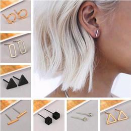 2019 orecchini a forma di orecchini Moda oro argento placcato punk nero semplice T Bar / triangolo / orecchini quadrati per le donne Orecchini orecchio Orecchini gioielleria minimalista orecchini a forma di orecchini economici