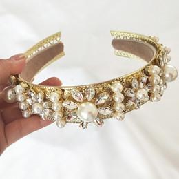Accesorios medievales online-Al por mayor Accesorios de baile de oro barroco Reina Mujeres Corona Imperial Ronda medieval Tiara Rhinestone Oro