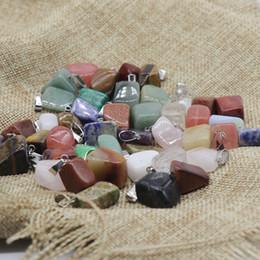 Colar feito de pedra on-line-Natural massa Stone pingente de colar do encanto irregulares cristal de quartzo Stone Beads para fazer jóias DIY Craft jóias com corrente couro M778F