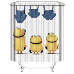 2019 tenda da doccia carina Regali divertenti per bambini Super cute Yellow Minions Stampa digitale 3D Tende da doccia per finestra da bagno impermeabili stampate con ganci ad anelli