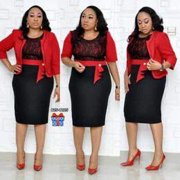 bordados de cauda vermelha bordados Desconto Roupa africana Rendas Patchwork Duas Peças Set Mulheres 2019 Elegante BlazerLace Lápis Vestido de Alta Qualidade Da Senhora Do Escritório Plus Size