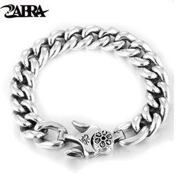 silber armband frauen einfache verschluss Rabatt ZABRA 925 Silber Sechs Wörter Armband für Männer Frauen Punk-Charme-Frühlings-Haken-Link-einfache Retro- Kettenarmband Herrenschmuck