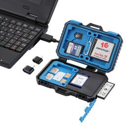 Caixa de armazenamento de pinos on-line-2019 Leitor de cartão + 22 em 1 caixa de armazenamento de cartão de memória / SD impermeável para 1Standard SIM + 2Micro-SIM + 2Nano-SIM + 7SD + 6TF + 1CARD PIN