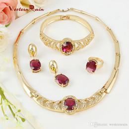 WesternRain 18 K chapado en oro italiano púrpura conjunto de joyas para el regalo de Navidad collar de cristal pulsera anillo pendientes A104 desde fabricantes