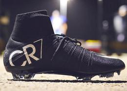 2019 botas negras cr7 Nuevo Original Negro CR7 Botas de fútbol Mercurial Superfly V FG Zapatos de fútbol C Ronaldo 7 Calidad superior de plata para hombre de fútbol rebajas botas negras cr7