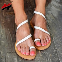 a42eae7c8 NAN JIU MOUNTAIN Summer Flat Sandals Casual Set Toe PU Strap Women's Shoes  4 Color Plus Size 35-43