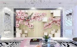 Пользовательские 3D Фото Обои Росписи Гостиной Спальня Диван ТВ Фон росписи красивые Цветы Сливы Сорока Аватар Обои Стикер Home Decor от