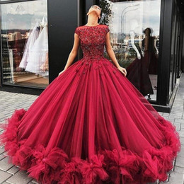 large lighted picture Coupons - Gorgeous Burgundy Prom Dress 2019 Scoop Neck Applique Crystal Tulle Large Long Dress Puffy Ball Gown Evening Dress for Marriage