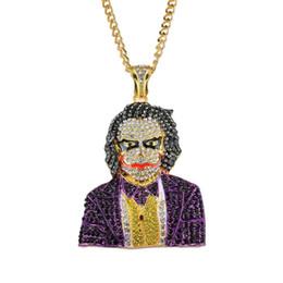 Rimenteiros de 5mm on-line-Hip hop Clown diamantes pingente de colar para mulheres dos homens 5mm 76 cm de aço Inoxidável liga Cubana strass ouro de luxo pingentes jóias