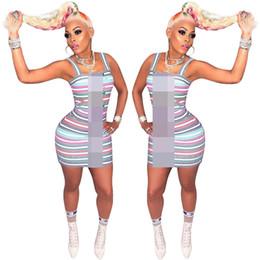 2019 Designer Donna Abiti estivi in contrasto di colore a righe un pezzo vestito aderente donne di lusso gonne corte vestito da partito abbigliamento C61907 da