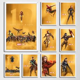 maravilha posters Desconto Pintura P337 Marvel filme Os primeiros dez anos Black Panther Iron Man Todos Superheroes Art Silk Canvas Poster Recados Home Decor