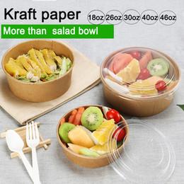 Scatola di insalata usa e getta di carta kraft marrone di forma rotonda da 750ml 26 once, da portar via da